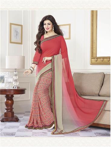 Vinay Fashion Star Walk 16809  Red and Beige Party Wear Georgette Saree