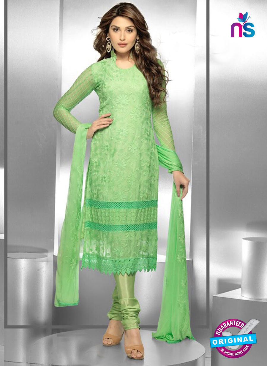 NS10297 Parrot Green Party Wear Pure Chiffon Designer Straight Suit