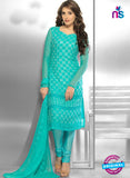 NS10298 Aqua Blue Party Wear Pure Chiffon Designer Straight Suit