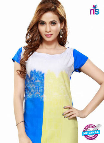RT 16435 Blue and Yellow Geogette Kurti