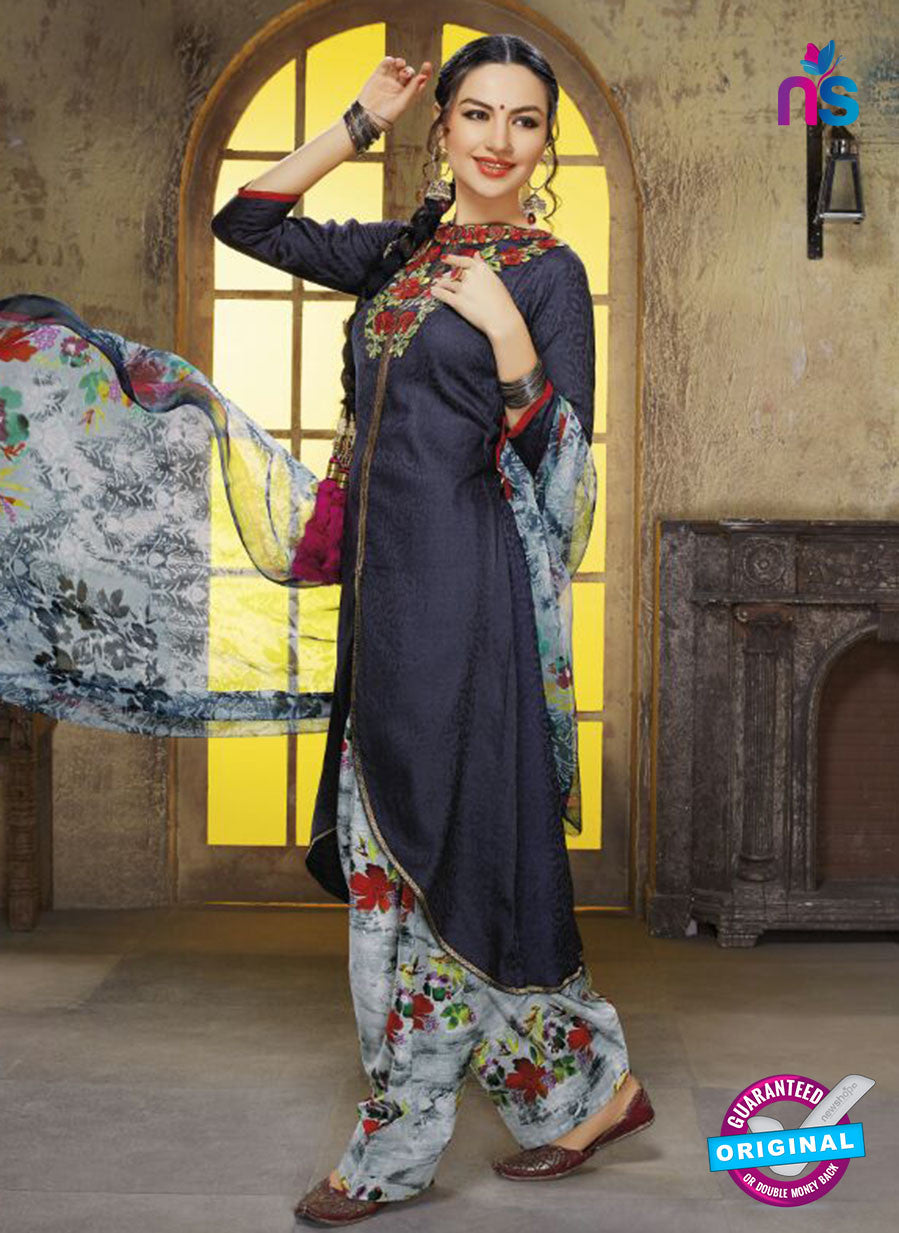 Ruhab 1652 Blue & Grey Color Cotton Designer Suit