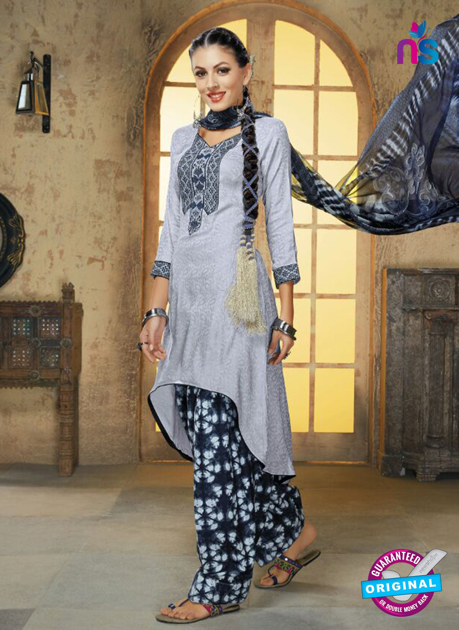Ruhab 1653 Blue & Grey Color Cotton Designer Suit