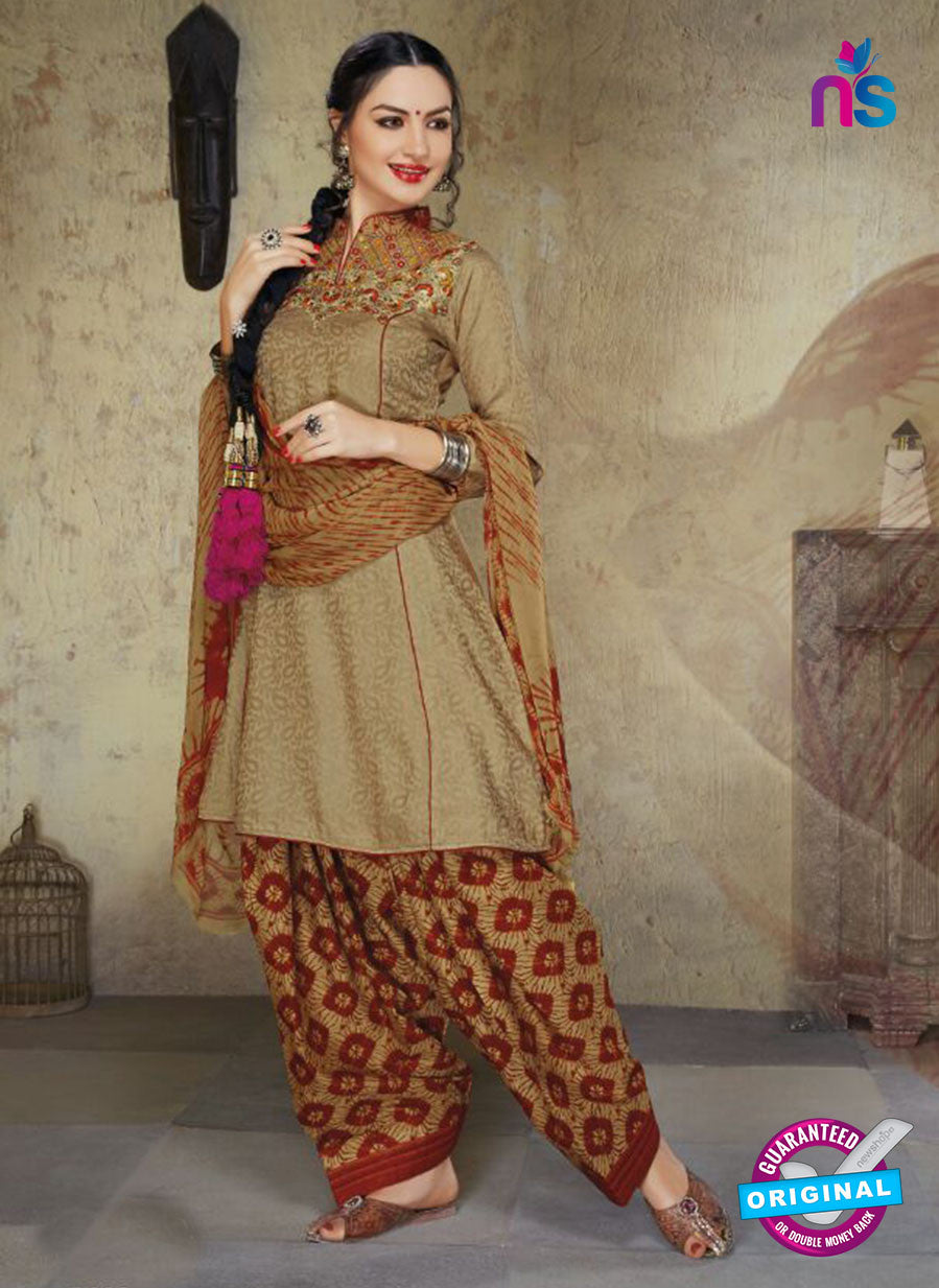 Ruhab 1656 Brown & Maroon Color Cotton Designer Suit