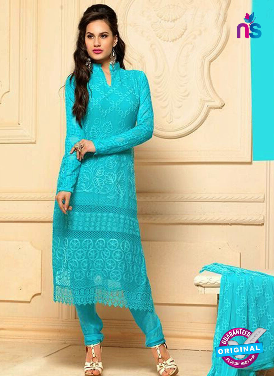 NS10299 Aqua Blue Party Wear Pure Chiffon Designer Straight Suit