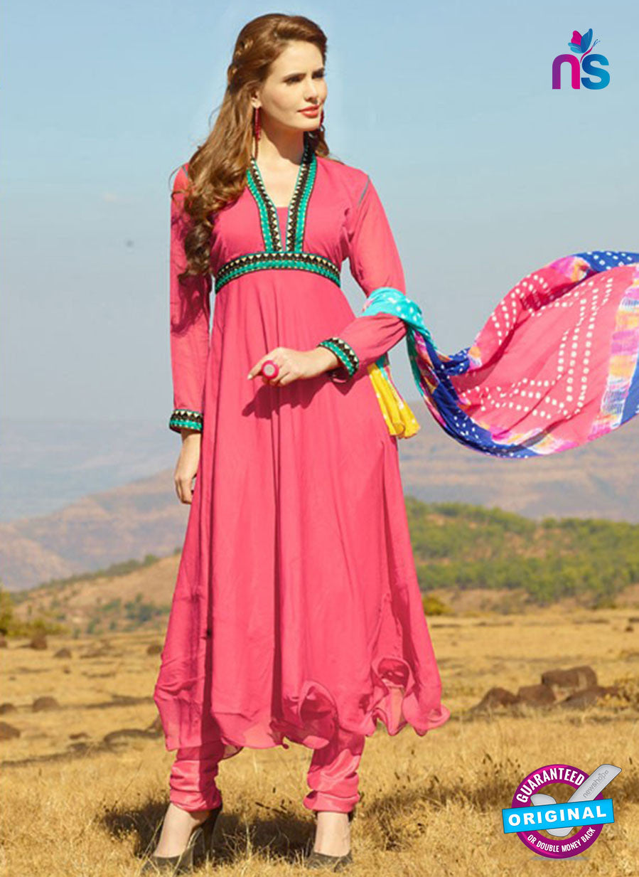 NS12019 Pink Chiffon Anarkali Suit