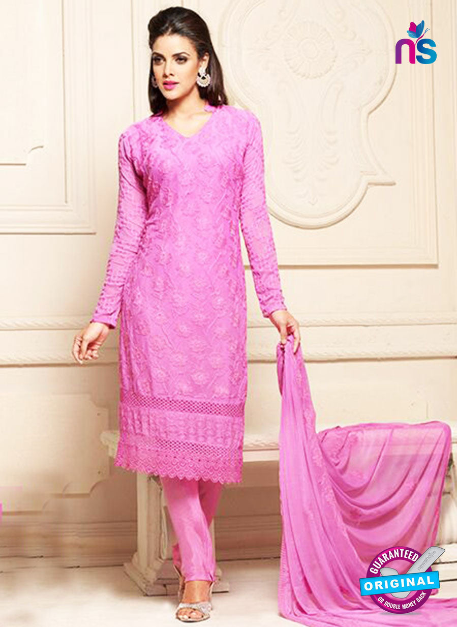 NS10304 Pink Party Wear Pure Chiffon Designer Straight Suit