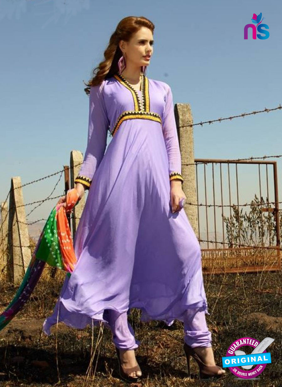 NS12021 Purple Chiffon Anarkali Suit