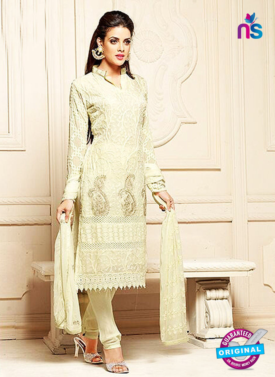 NS10305 Beige Party Wear Pure Chiffon Designer Straight Suit