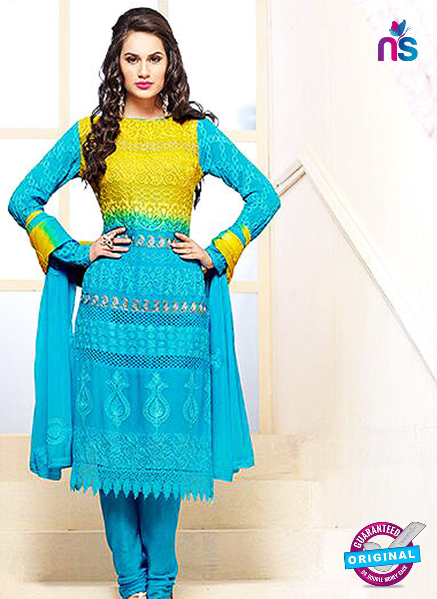 NS10306 Yellow and Aqua Blue Party Wear Pure Chiffon Designer Straight Suit