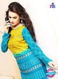 NS10306 Yellow and Aqua Blue Party Wear Pure Chiffon Designer Straight Suit Online