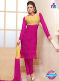 NS10307 Beige and Magenta Party Wear Pure Chiffon Designer Straight Suit