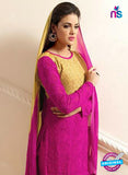 NS10307 Beige and Magenta Party Wear Pure Chiffon Designer Straight Suit Online