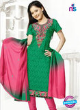 NS12207 Green and Carrot Pink Chudidar Suit
