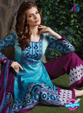 SC 13715 Sky Blue and Purple Glace Cotton Designer Exclusive Fancy Un-stitched Straight Plazo Suit