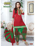 NS11666 Red & Green Cotton Patiyala Suit