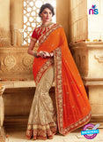 SC 13669 Orange and Brown Exclusive Designer Fancy Ethnic Wedding Wear Saree