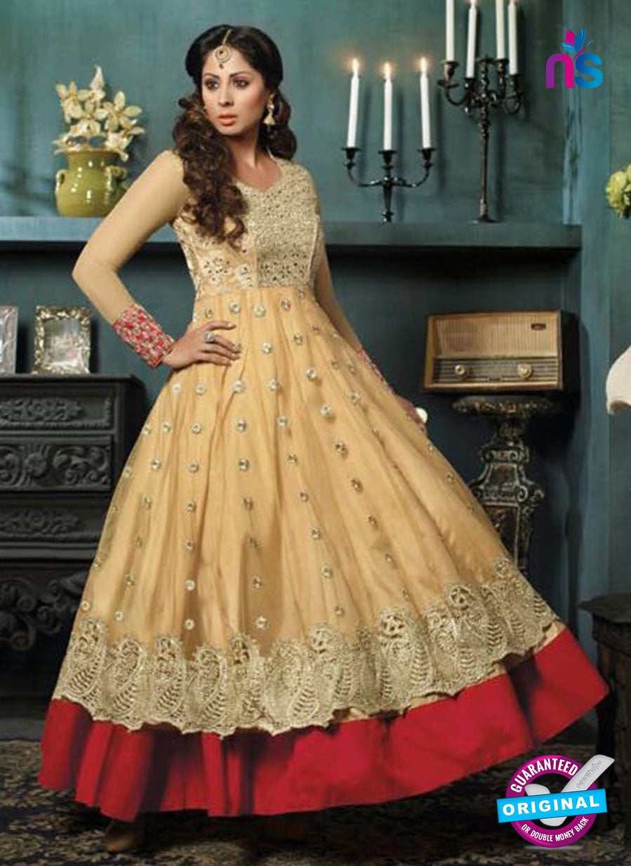 SC 12398 Beige and Red Embroidered Faux Georgette Fancy Anakali Suit