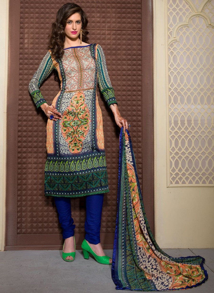 Rupali 17001  Blue Color Cotton Designer Suit