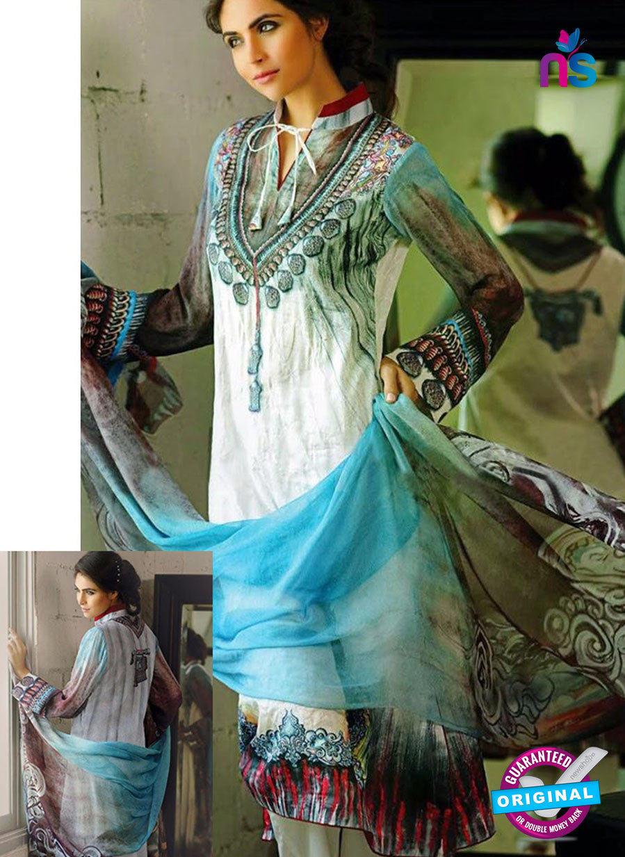 NS10285 White and Sky Blue Cambric Digital Print Designer Suit