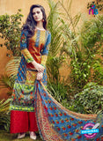 SC 12636 Blue Yellow and Red Pure Lawn Digital Print Plazzo Suit