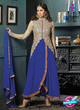 SC 12394 Beige and Royal Blue Embroidered Faux Georgette Fancy Anakali Suit