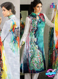 NS10286 White and Blue Cambric Digital Print Designer Suit