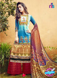SC 12640 Blue and Maroon Pure Lawn Digital Print Plazzo Suit