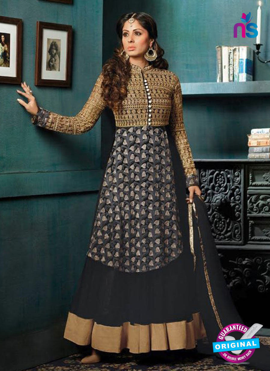 SC 12396 Black and Brown Embroidered Faux Georgette Fancy Anakali Suit