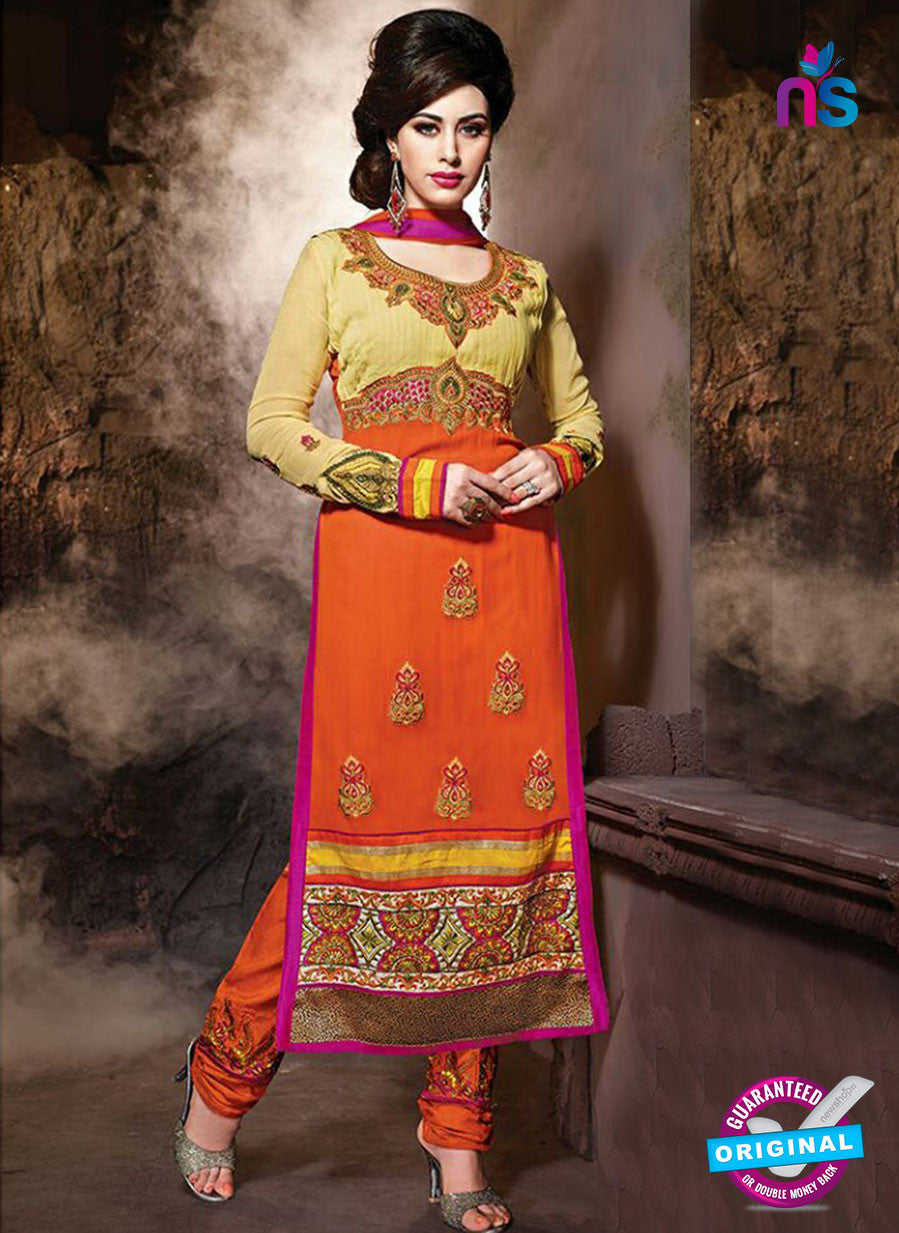 NS 12323 17003 Beige and Orange Embroidered Semi Georgette Party Wear Designer Suit