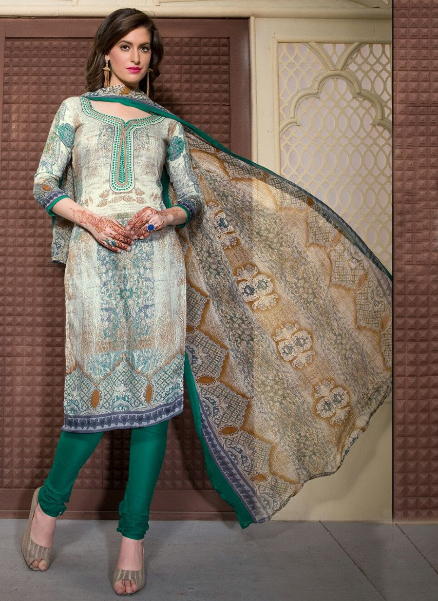 Rupali 17004  Green Color Cotton Designer Suit