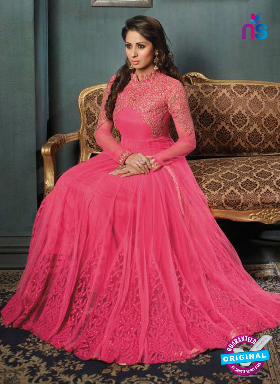 SC 12400 Pink Embroidered Faux Georgette Fancy Gawn