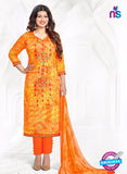 Buy Aashirwad 17004 Orange Cotton Satin Formal Suit Online