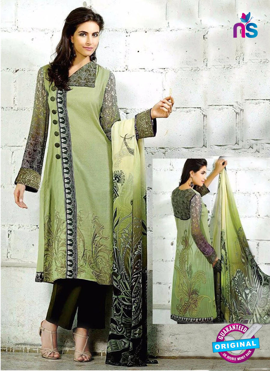 Decent 17004 Green Cambric Digital Print Designer Suit