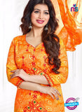 AZ 3557 Orange Cotton Satin Formal Suit