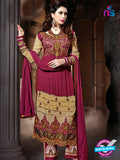NS 12324 17005 Maroon and Brown Embroidered Semi Georgette Party Wear Designer Suit