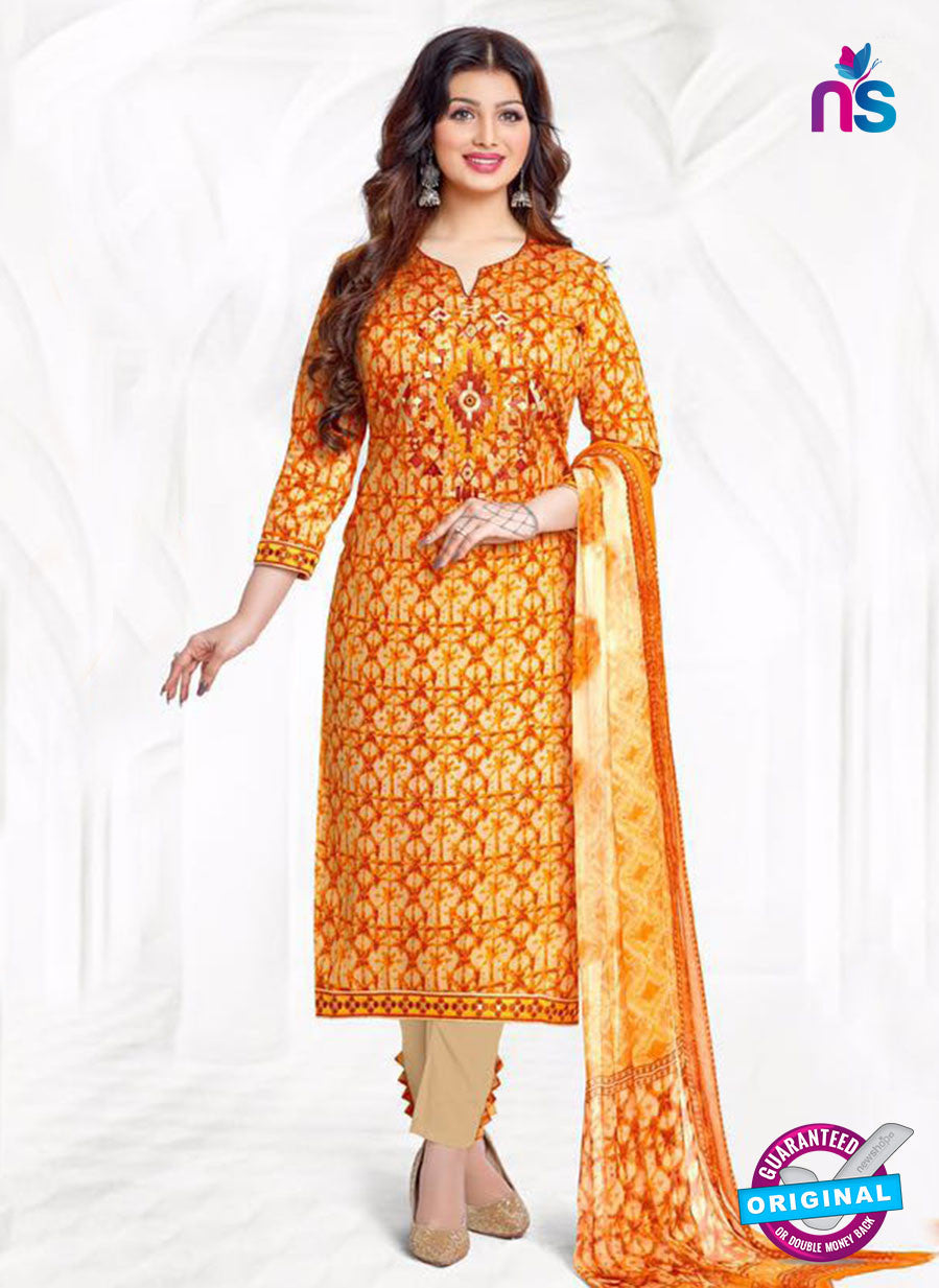Buy Aashirwad 17005 Yellow Cotton Satin Formal Suit Online