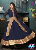 SC 12395 Blue and Beige Embroidered Faux Georgette Fancy Anakali Suit