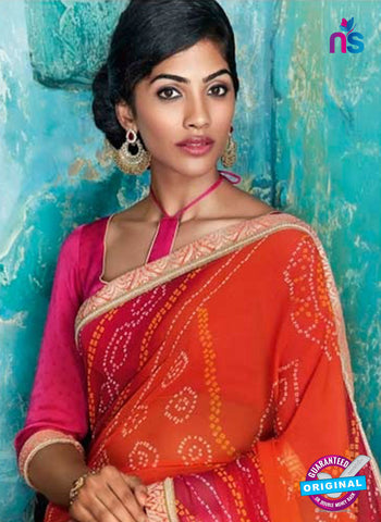 AZ 2011 Orange and Multicolor Georgette Fancy Formal Saree