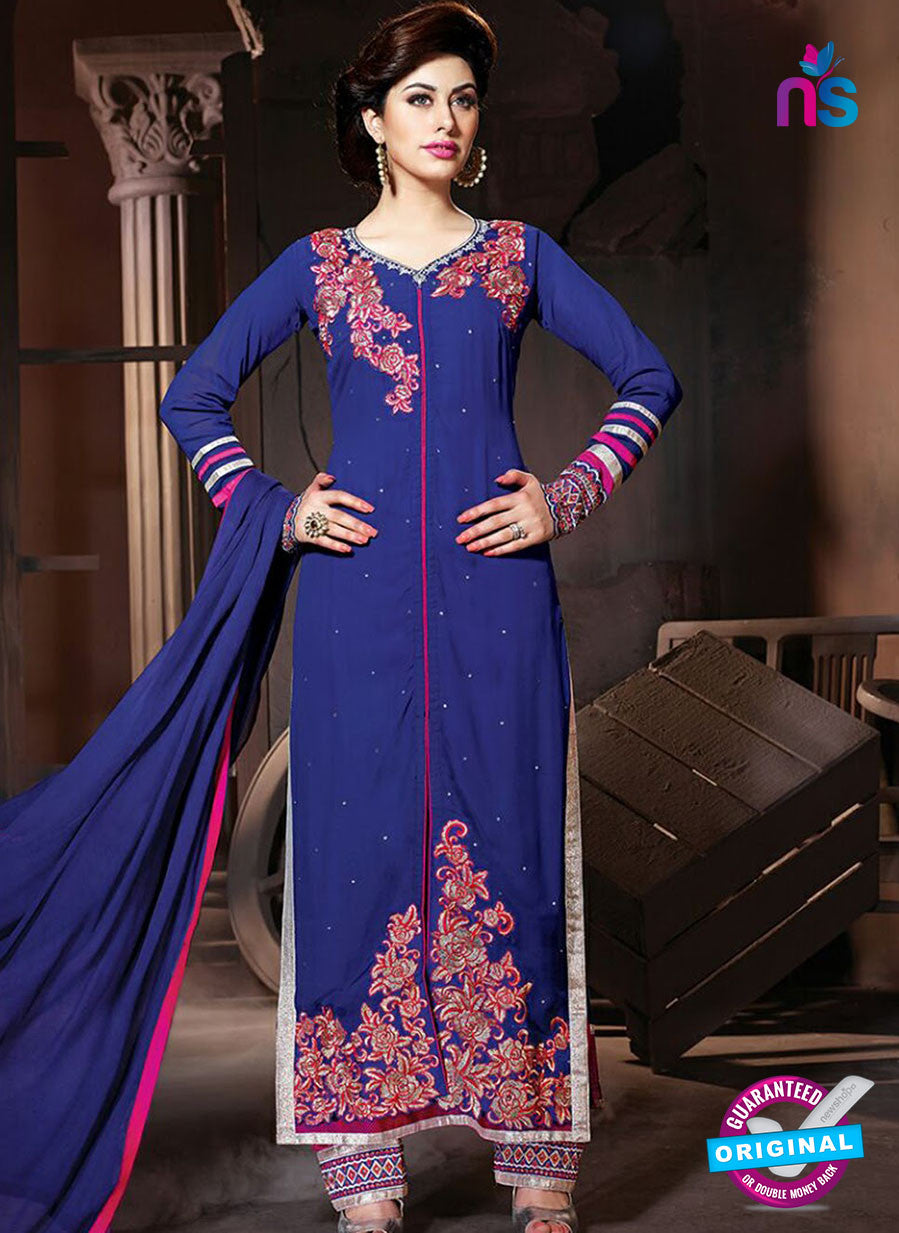 NS 12325 17006 Blue and Red Embroidered Semi Georgette Party Wear Designer Suit