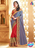SC 13672 Blue and Red Exclusive Designer Fancy Ethnic Wedding Wear Saree