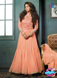 SC 12397 Orange Embroidered Faux Georgette Fancy Anakali Suit