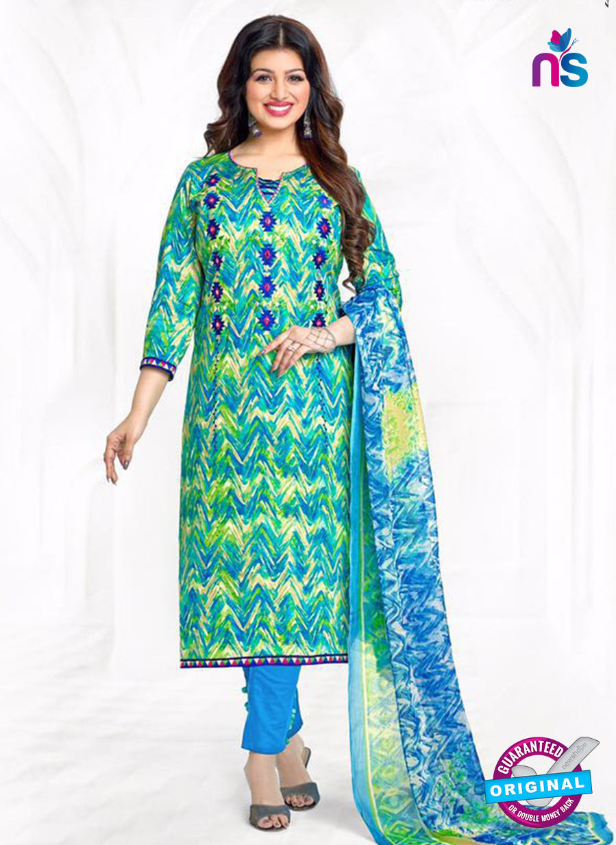 Buy Aashirwad 17006 Green and Blue Cotton Satin Formal Suit Online