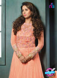 SC 12397 Peach Embroidered Faux Georgette Fancy Anakali Suit