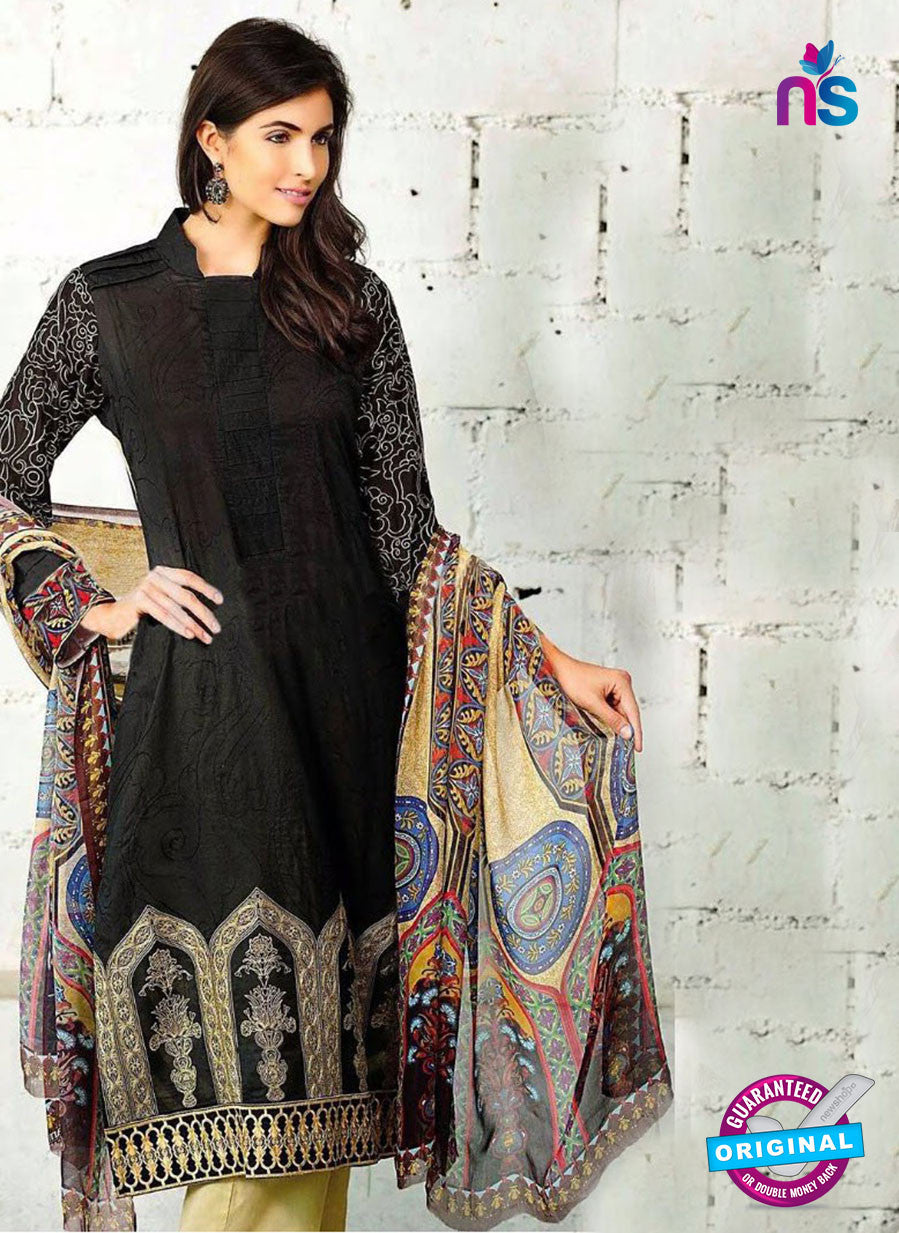NS10290 Black and Beige Cambric Digital Print Designer Suit