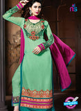 NS 12322 17007 Green and Pink Embroidered Semi Georgette Party Wear Designer Suit