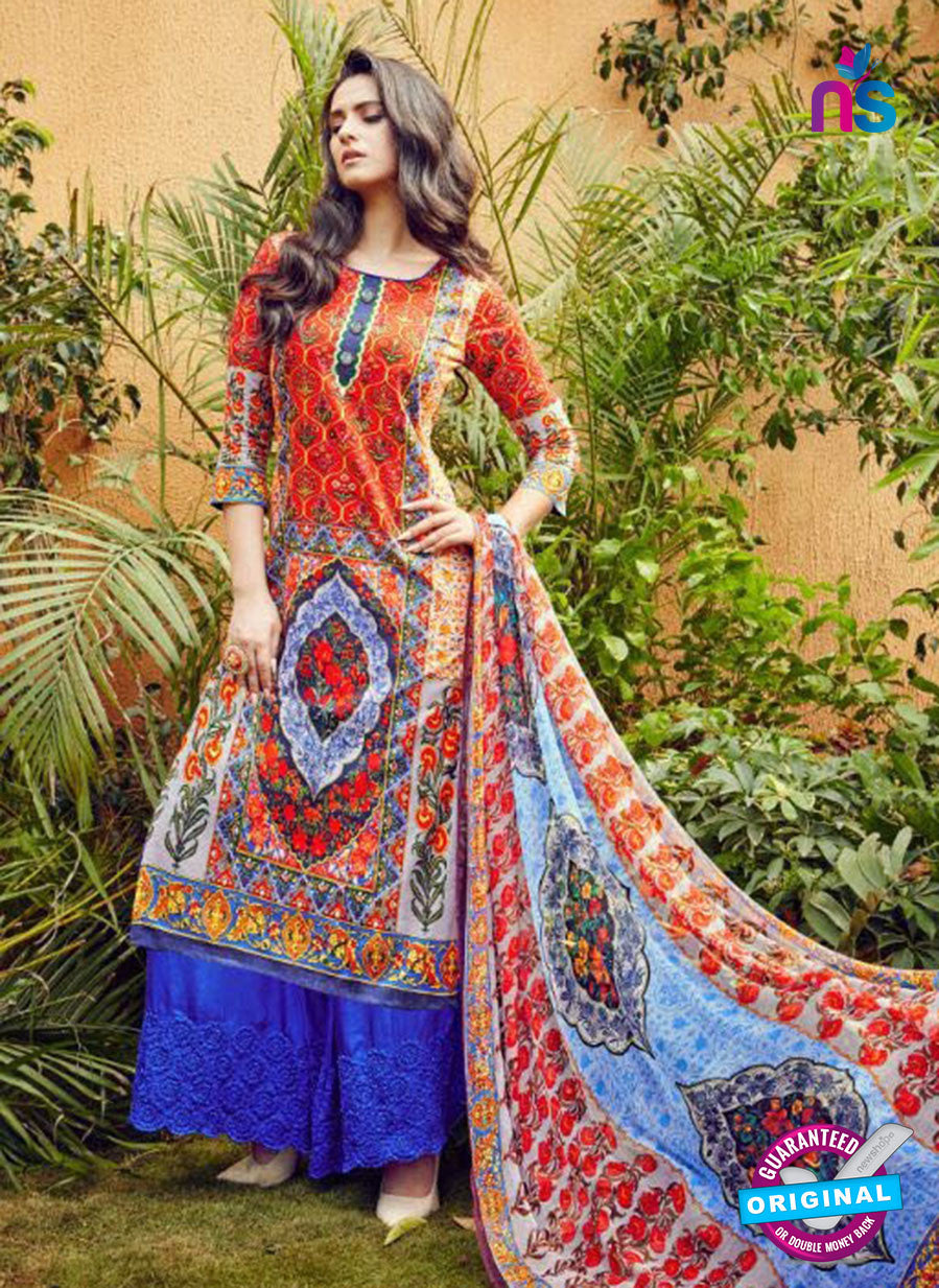 SC 12634 Red and Blue Pure Lawn Digital Print Plazzo Suit