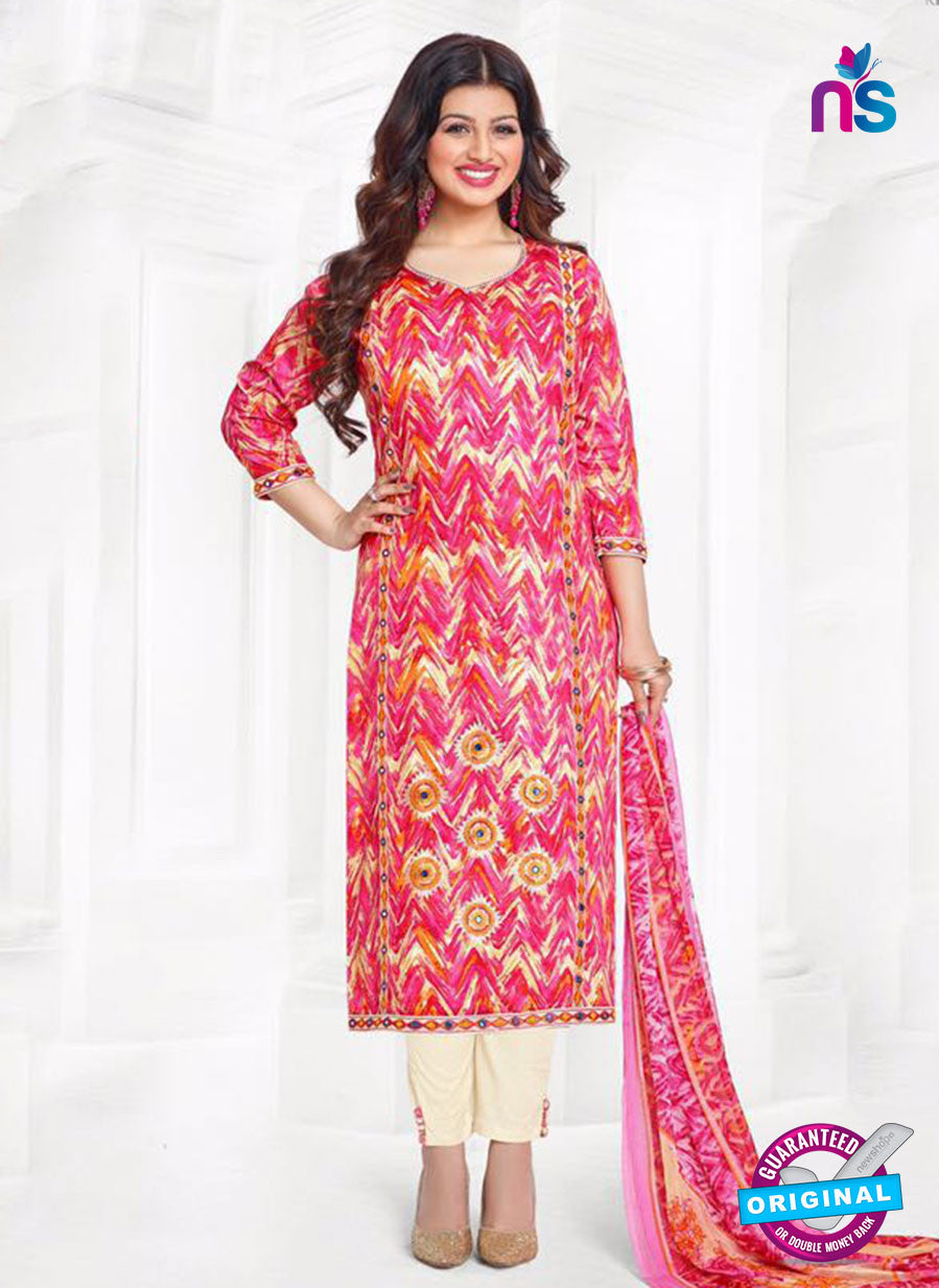 Buy Aashirwad 17007 Pink Cotton Satin Formal Suit Online