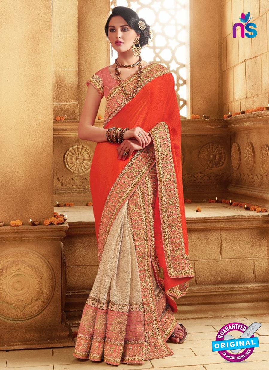 SC 13680 Orange and Beige Exclusive Designer Fancy Ethnic Wedding Wear Saree