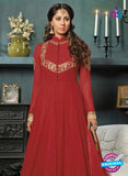 SC 12399 Red and Golden Embroidered Faux Georgette Fancy Gawn