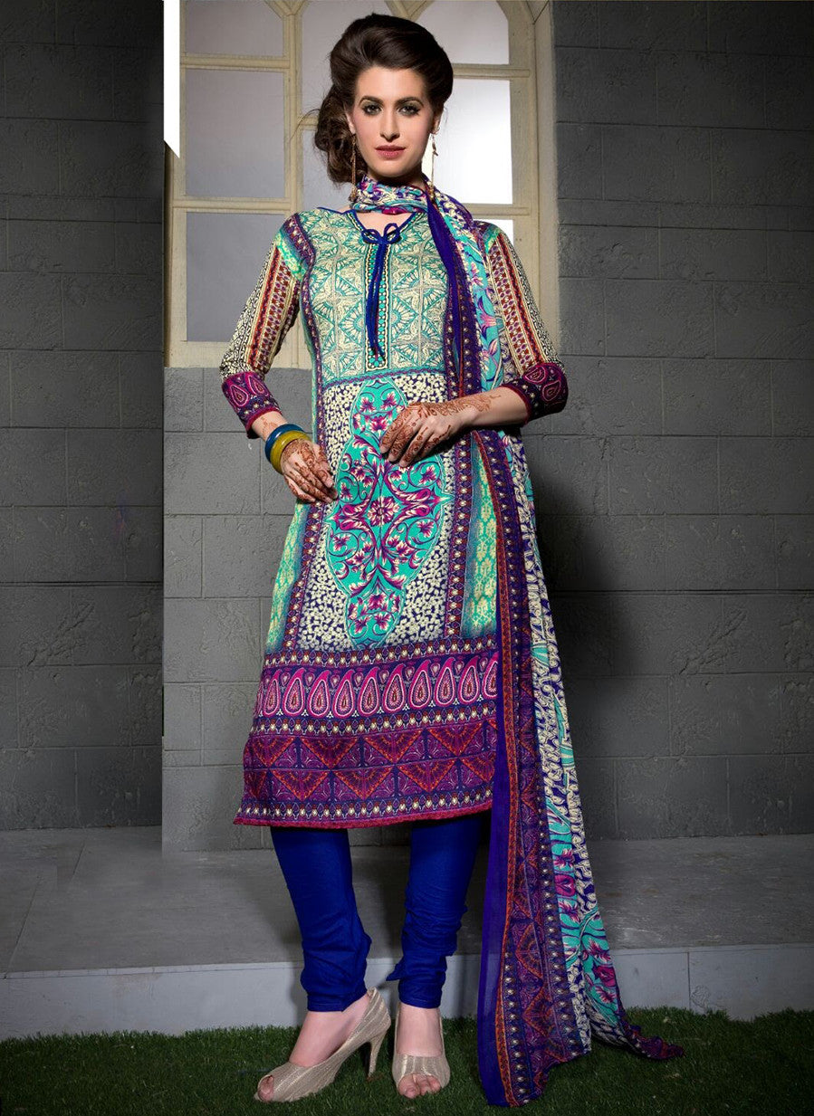 Rupali 17008  Blue Color Cotton Designer Suit